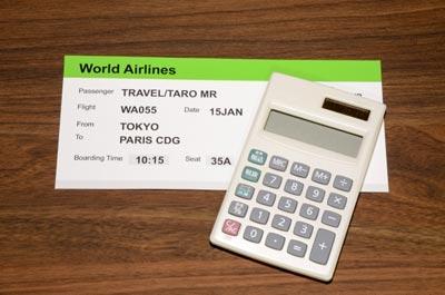 航空券と電卓